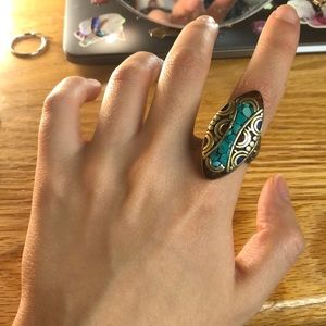 authentic tibetan large turquoise ring